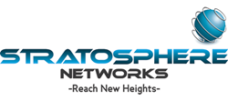"""Stratosphere Networks logo with the slogan """"Reach new heights."""""""