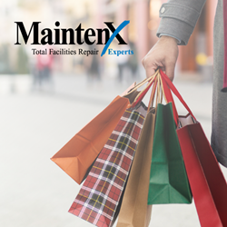 MaintenX's logo is featured in the top left corner over a festive image of an arm in a grey coat shown holding five holiday colored (orange, plaid, gold, green, red) shopping bags, with a busy street scene blurred in the background.