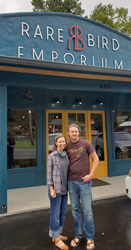 Owners Kate and Pav Templeton in front of the new Rare Bird Emporium in Murphy, North Carolina