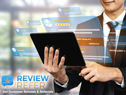 Picture showing happy businessman using ReviewRefer.com service