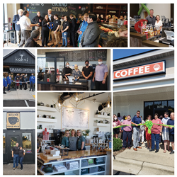 Photos of independent coffee shops supported by Crimson Cup Coffee & Tea