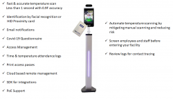 Geek Land Introduces an Upgraded Version of Temperature Scanning Kiosk with Built-in HID Proximity Card Reader for Integration with Building Access Control Systems.