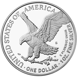 2021 American Eagle Silver One Ounce Proof Coin Reverse San Francisco, new design