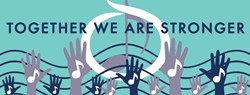graphic in blues and white of raised hands, music notes, and words Together We Are Stronger